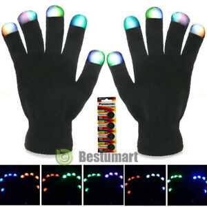 Unisex Xmas LED Fingers Flashing Gloves Light Up Lighting Glow Dance Rave Party