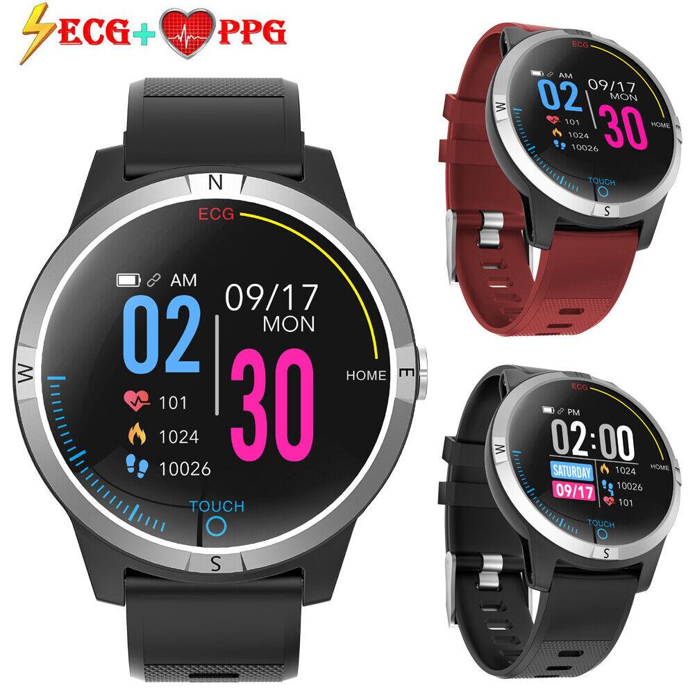 HR ECG PPG Heart Rate Monitor Smart Watch Activity Tracker IP68 Waterproof Watch