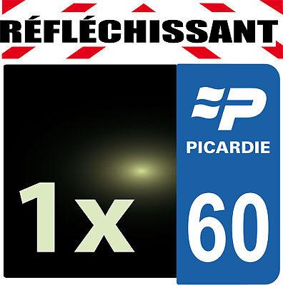 Adaptable Departement 60 Rétro-réfléchissant Plaque Auto 1 Sticker Autocollant Reflectif
