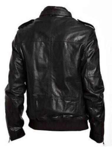 New Mens Biker Slim Fit Genuine Lambskin Black Biker Jacket