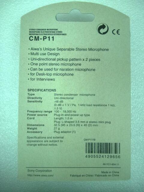 aiwa CM-P11 Separable Stereo Condenser Microphone