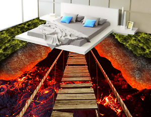 3D Volcanic Bridge 55 Floor WallPaper Murals Wall Print 5D AJ WALLPAPER AU Lemon