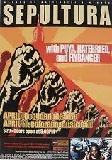 SEPULTURA/PUYA/HATEBREED/FLYBANGER 2001 DENVER CONCERT TOUR POSTER - Metal Music