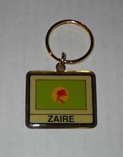 Wholesale Lot Of 10 Zaire Flag Metal Keychain, BRAND NEW