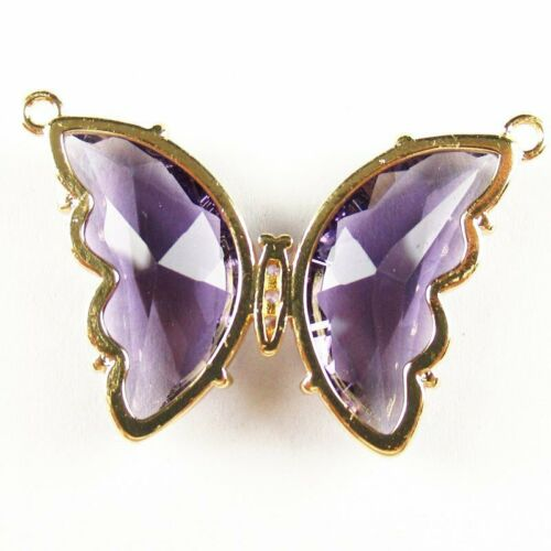 2Pcs Wrapped Faceted Purple Titanium crystal Butterfly Pendant Bead HASJ688