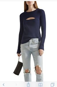 FRAME-Cut-Out-Wool-Blend-Ribbed-Sweater-Knit-Top-Navy-Blue-sz-XS-NEW-Retail-295