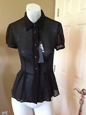 NWT Prada Silk Black Semi Sheet Buttoned Blouse with Pleats It 38