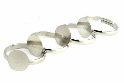 20PCS Silver plated Adjustable Ring Bases Blank Jewelery Findings Pad 8/10/12mm