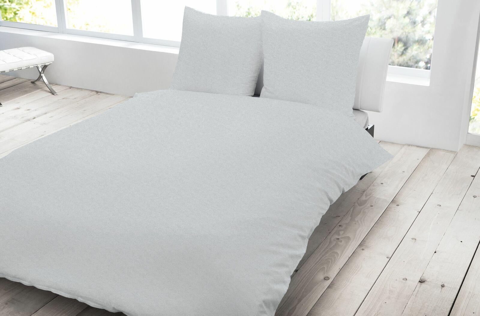 3 teilig Jersey Bettwäsche 200x200 cm silber meliert Melange Baumwolle