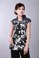 Jolie Veste Chinoise Noire Style Jean En Coton Imprimé Fleuri Taille M
