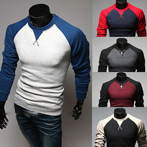 New-Men-039-s-Fashion-Casual-Slim-Fit-Crew-neck-Long-Sleeve-Tops-Tee-T-shirt
