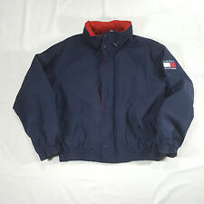 Tommy Hilfiger Fleece lined Full Zip Jacket XL Flag Spell Out Patch Navy Red VTG