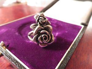 Uberragender-925-Silber-Ring-Rose-Blume-Tracht-Floral-Jugendstil-Art-Deco-Retro