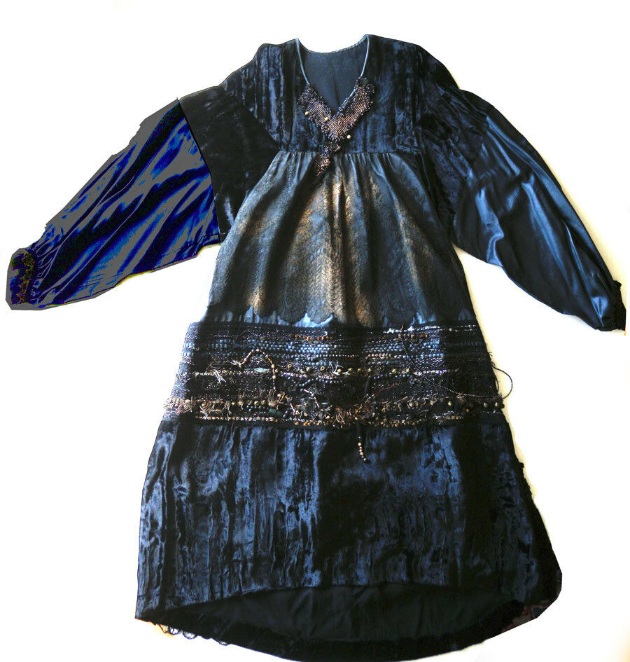 Vintage Paris  silk dress wearable art 80's