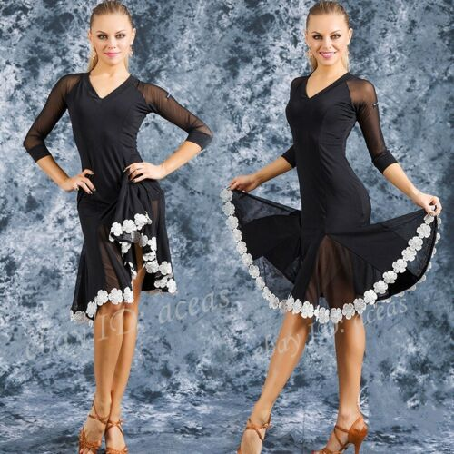 Women Lace Floral Latin Dance Dress Rumba Samba Cha Cha Paso Doble Gown Ballroom