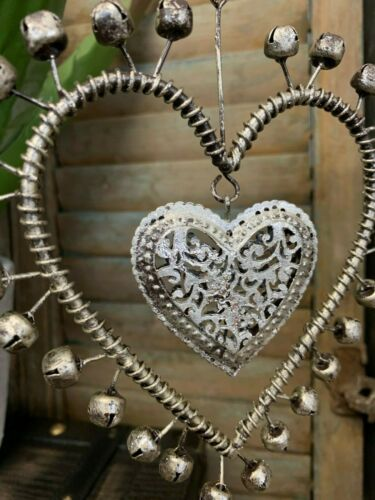 Antique Style Silver Hanging Heart Venue Decoration with Bells Wedding Favour