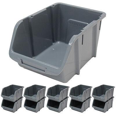 10 X Large Grey Plastic Stacking Storage Bins Garage