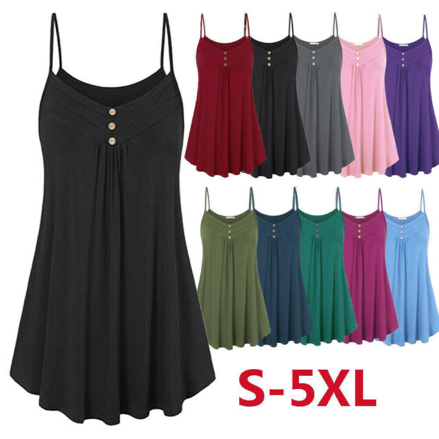 Women Summer Casual Vest Tank Top Plain T-Shirt One Size UK8-12 19