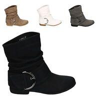 Damen Stiefeletten Schlupf Stiefel Boots Schuhe Flach Neu 19