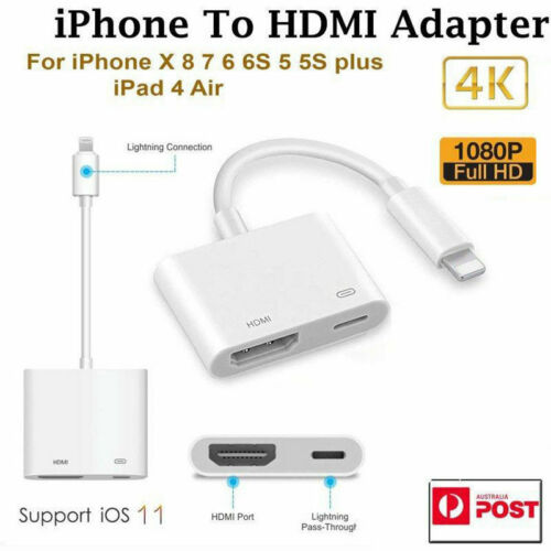 1080P 8 Pin HDMI TV AV Adapter Cable for iPhone XS X 8 7 6 Plus
