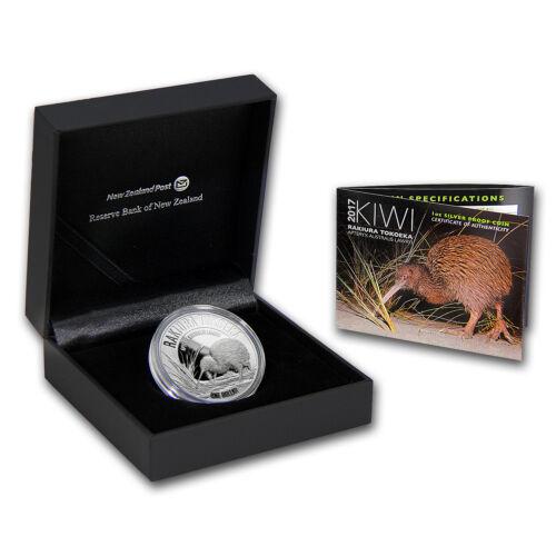 2017 New Zealand 1 oz Silver Kiwi Proof w//Box /& COA