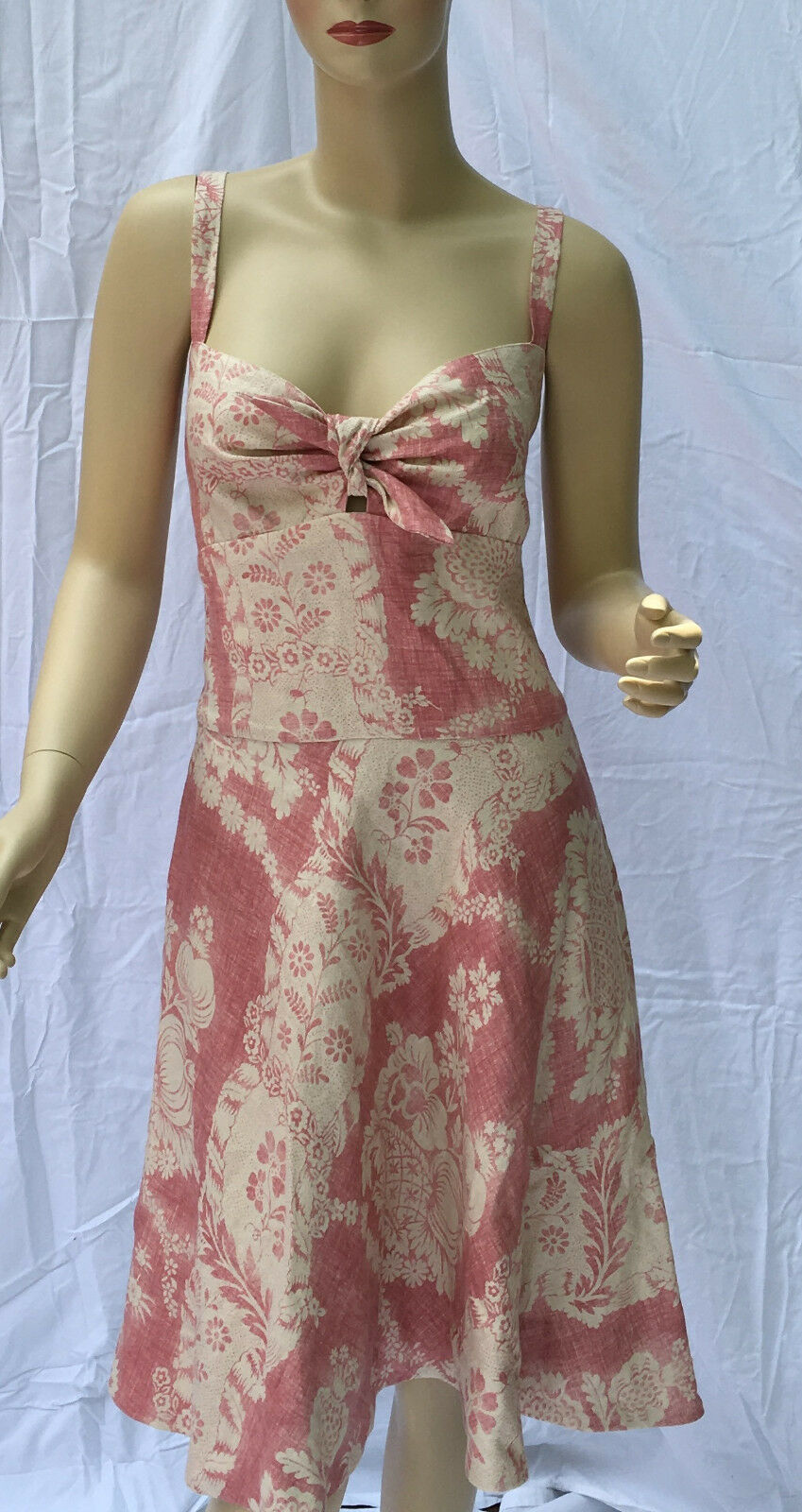Ralph Lauren Pink Cream Floral Linen Dress Size 12 Cotton Lined