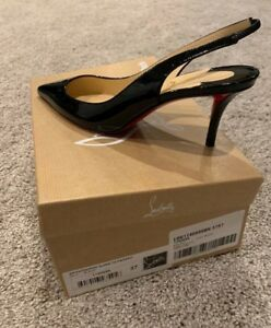Image is loading NEW-Christian-Louboutin-Apostrophy-Sling-70-Black-Patent- 1800c9586