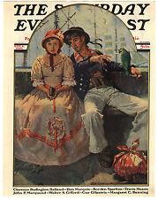 Rare Orig VTG 1930 Saturday Evening Post Ships Sailor Girl Cover Only Art Print