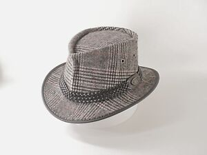 6d4eaf91d Details about LEATHER AND TWEED HAND CRAFTED FEDORA / GANGSTER HAT  TRADITIONAL MEN'S STYLE