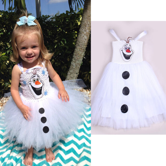 2015 Cartoon Snowman Olaf Costume Girls Baby Tulle Fancy Gown Tutu Dresses 2-7Y