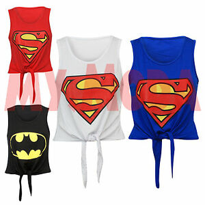 Ladies-Women-039-s-Girls-Super-Hero-Print-Tie-Front-Cropped-Summer-Top-Tee-T-Shirt