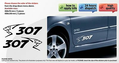 PEUGEOT 307 SPORT car body tuning custom vinyl Sticker Decal Graphic 2 stickers