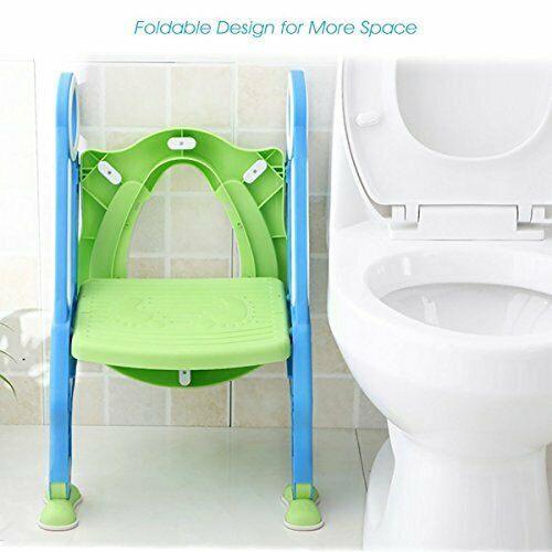 Pink White Upgrade Pu Cushion Mangohood Potty Training Toilet Seat with Step Stool Ladder for Boys and Girls Baby Toddler Kid Children Toilet Training Seat Chair with Handles Sturdy Wide Step