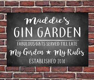 PERSONALISED GIN TONIC GARDEN METAL WALL SIGN GIFT PRESENT LANDLORD BLACK