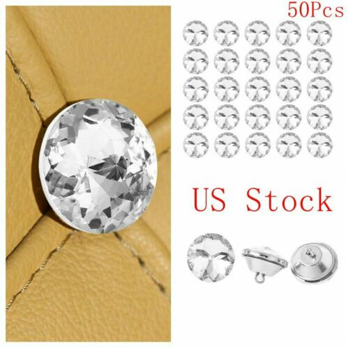 50Pcs Rhinestone Crystal Buttons Clear Tufting Buttons Upholstery Button 20-30mm