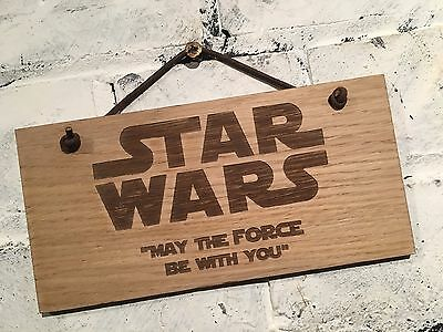 """Star Wars Quote """"MAY THE FORCE BE WITH YOU"""" Shabby chic plaque"""