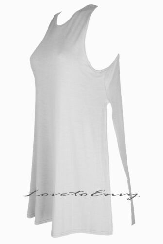 Womens New Split Side Top Long High Slit Tunic Jersey Sleeveless Top S//M /& M//L.