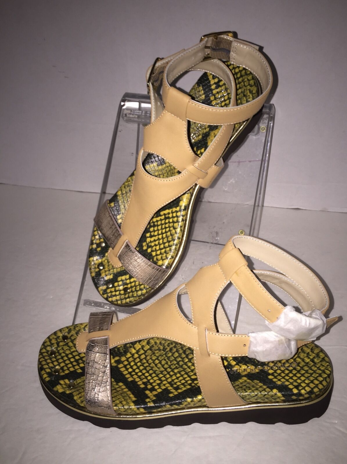 Donald Pliner Lido Platino Cracked Metallic Leder Gladiator Sandale 8.5