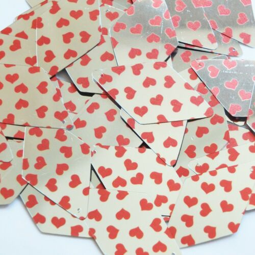 "Sequin Long Diamond 1.75"" Sweet Hearts Print Red Silver Metallic"