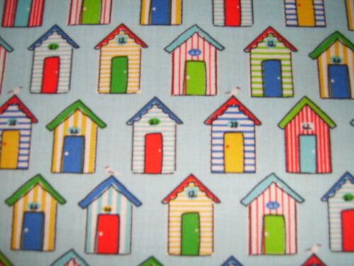 Poly Cotton Fabric Blue Seaside Beach Hut /& Seagull