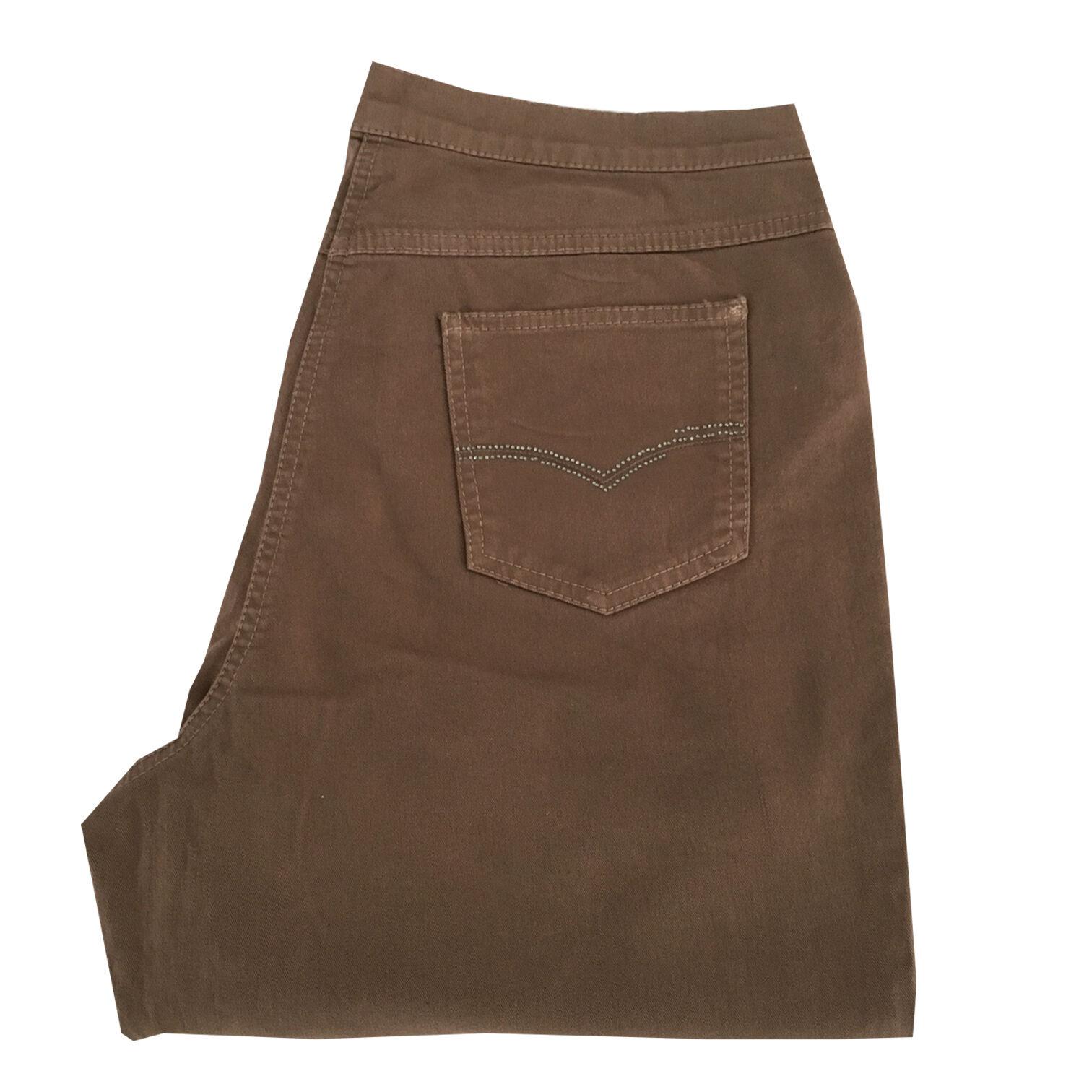 ELENA MIRO' pantalone donna cotone invernale biscotto con strass su tasche