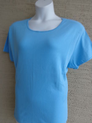 Blue Being Casual 3X Fine Ribbed Cotton L//S Ruffled Scoop Neck Front Top Br