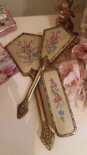 Vintage Goldtone ornate Floral Vanity Dressing Table set