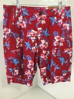 Men's Red Camel Flowered Cargo Shorts Red 33