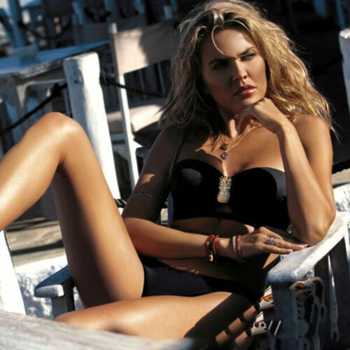 Damen Träger Bikini Set Bademode Padded Zweiteilig 2tlg Badeanzug Schwimmanzug