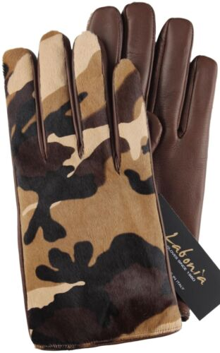 NWT LABONIA GLOVES pony hair lamb brown camo cashmere handmade Italy 9.5