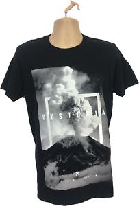 Mens-T-Shirt-Size-Medium-Black-White-Dystopia-Shirt-100-cotton-FreeP-amp-P-mens-Top
