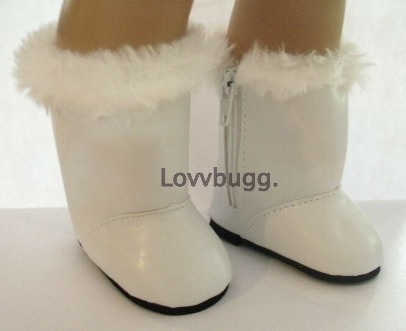 """Lovvbugg White with Fur Boots for 18"""" American Girl  Bitty Baby Doll Shoes"""