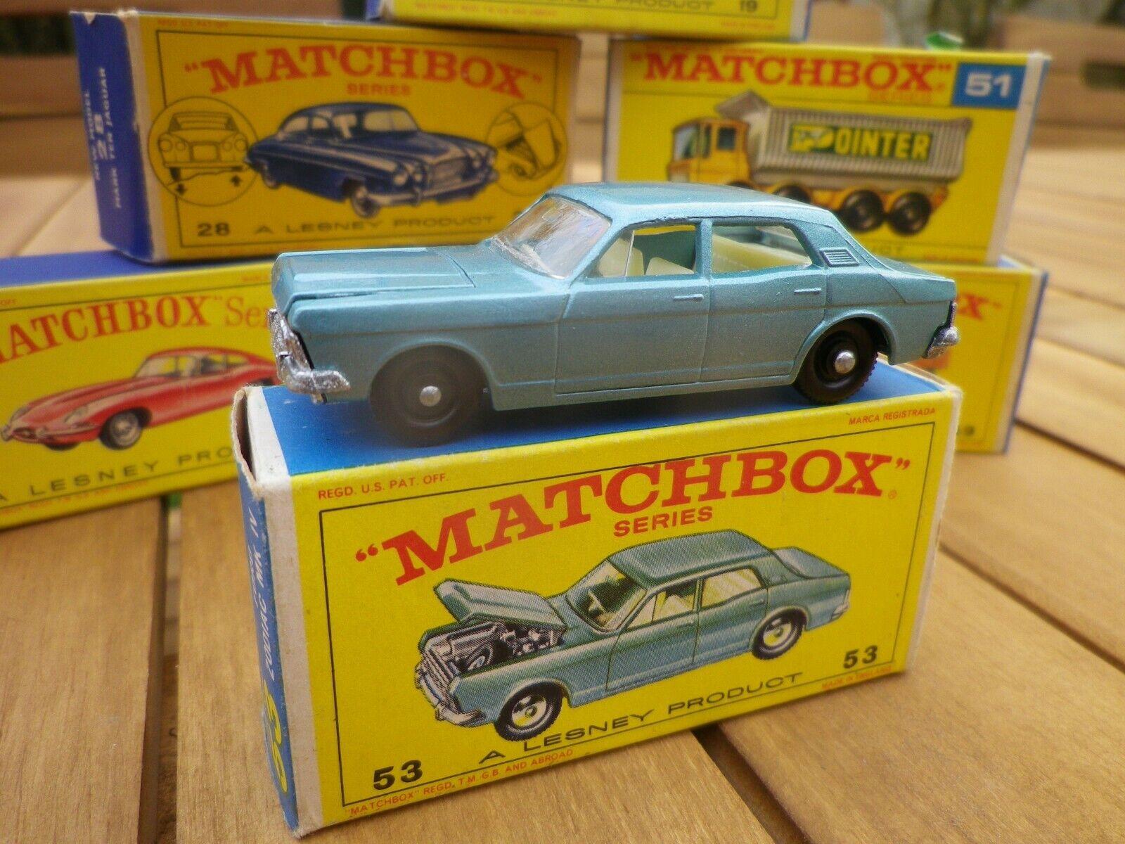 Matchbox lesney 53 ford zodiac mk iv tres proche du new in original box