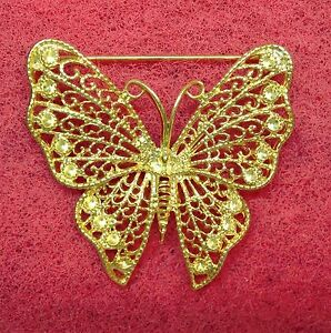 NICE-LARGE-GOLD-TONE-BUTTERFLY-FASHION-JEWELRY-BROOCH-12112